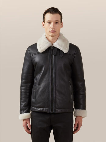 Giubbotto in shearling con zip