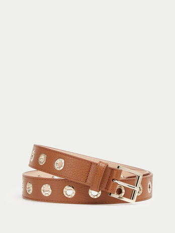Dollaro leather belt with eyelet details