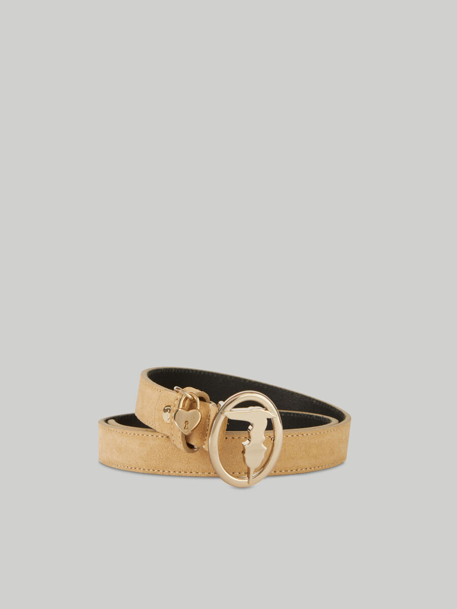 Suede belt with monogram buckle and charm