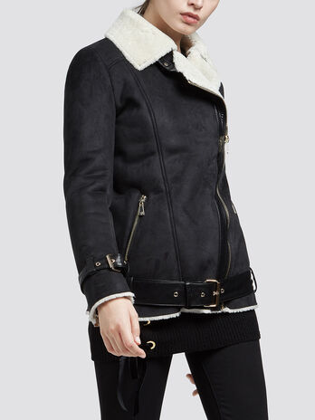 Regular fit biker jacket with faux fur