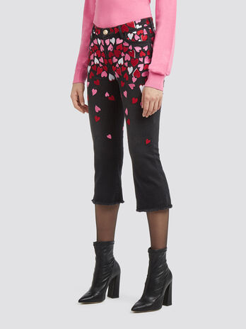 Yves fit jeans with embroidered hearts
