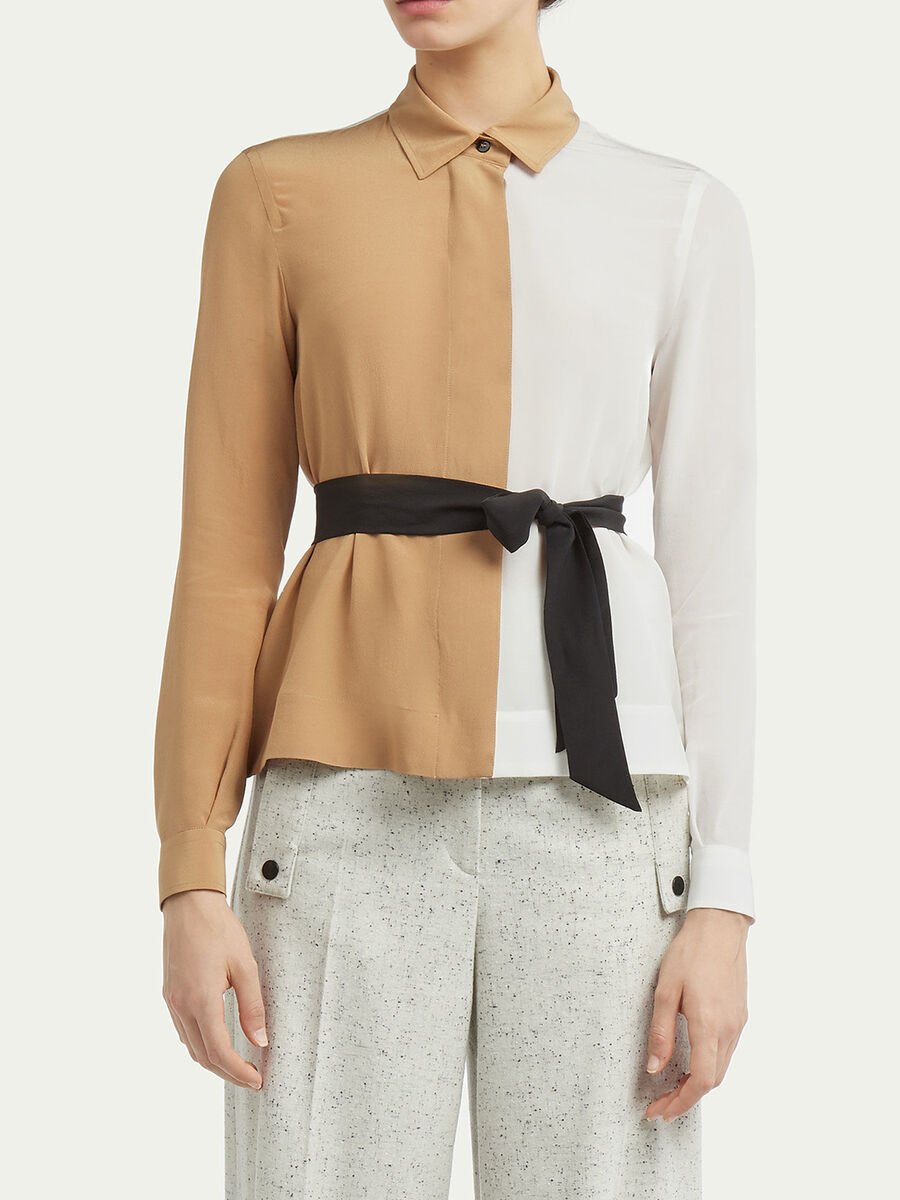 Two tone crepe de chine shirt with belt