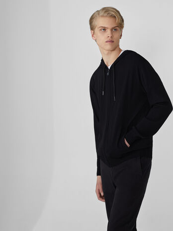 Sweat-shirt en viscose et nylon a capuche