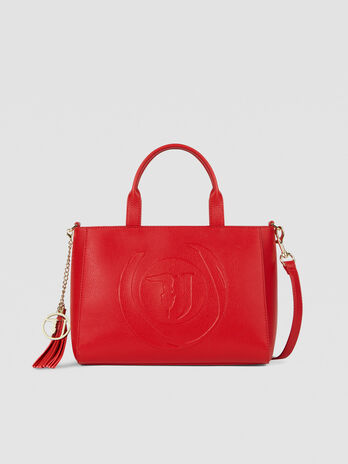 Medium Faith shopper in faux leather with logo