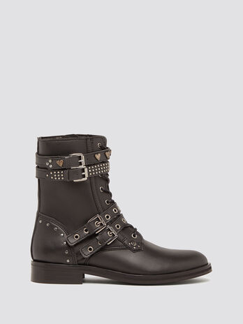 Ecoleather combat boots with buckles and studs