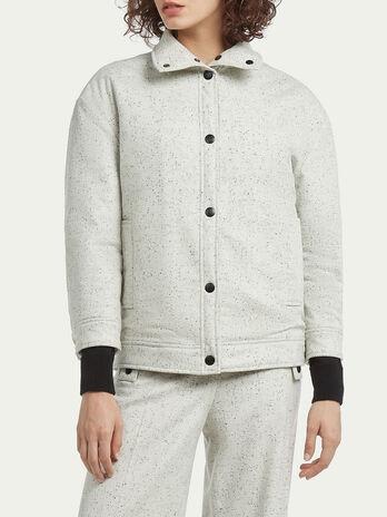 Crop Jacke aus gepunkteter Wolle