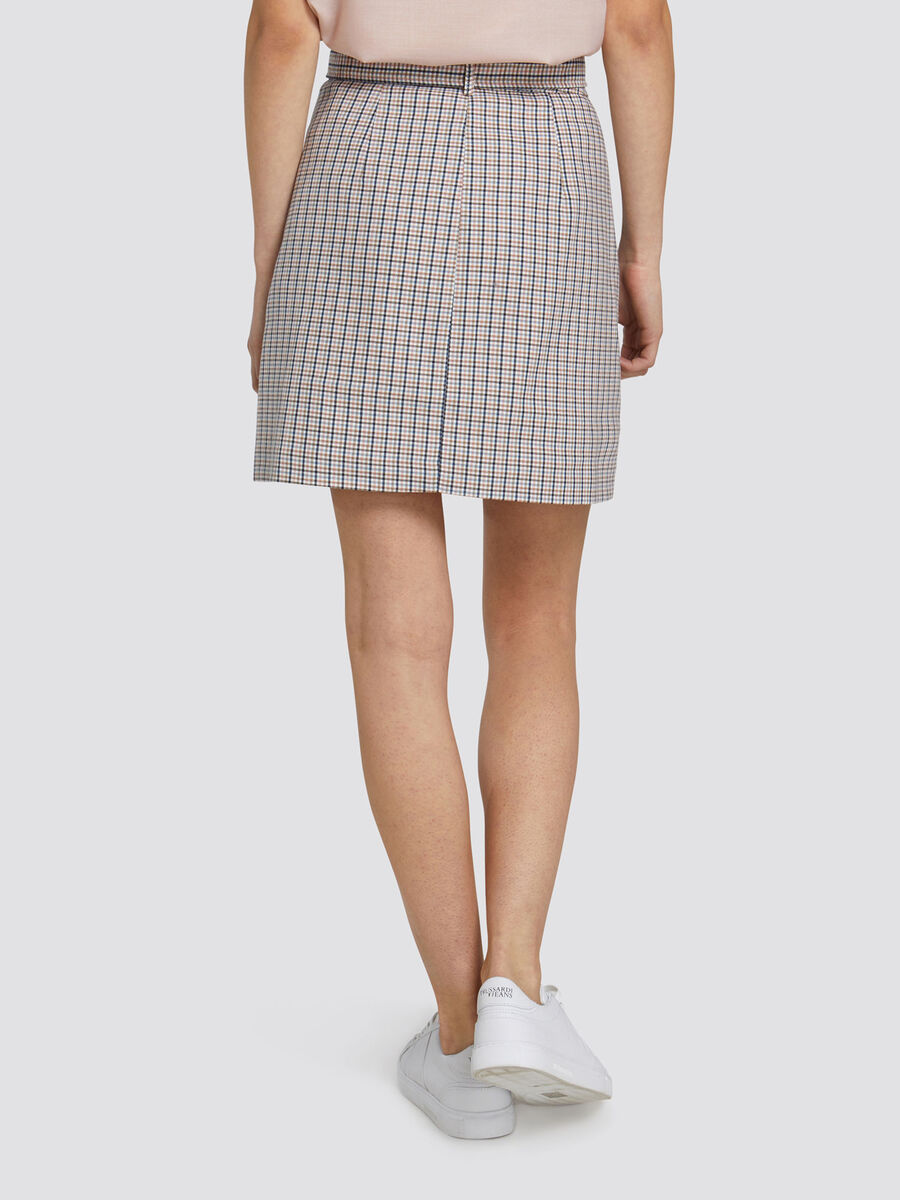 Regular fit miniskirt with chequered pattern