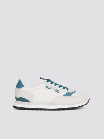 Sneakers de running multicolores daim et nylon a lacets