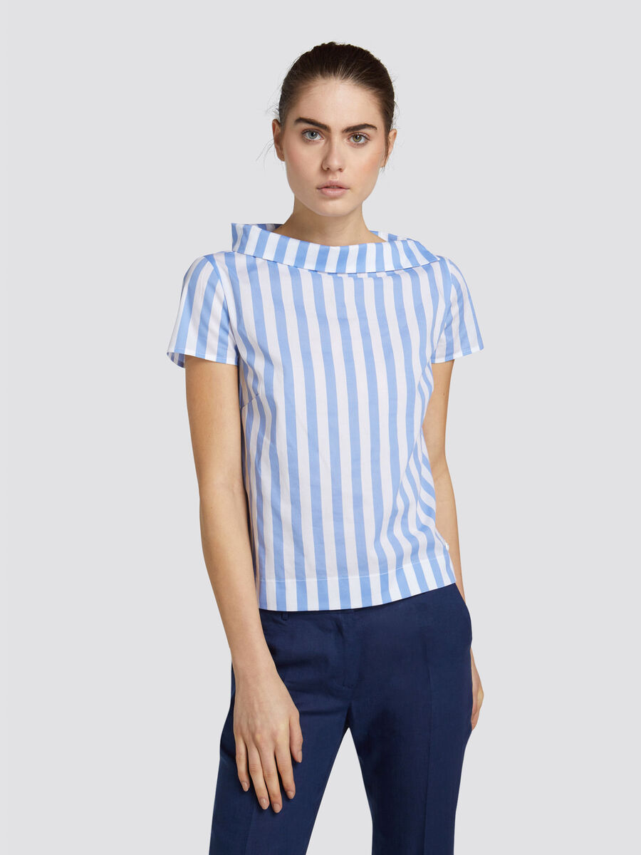 Regular fit cotton blouse with two tone maxi stripes