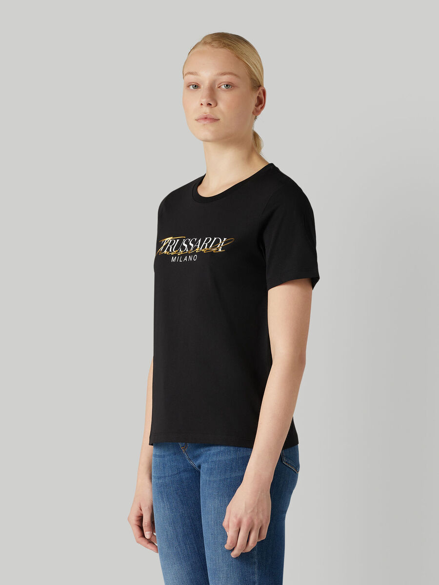 T-shirt regular fit in jersey con lettering
