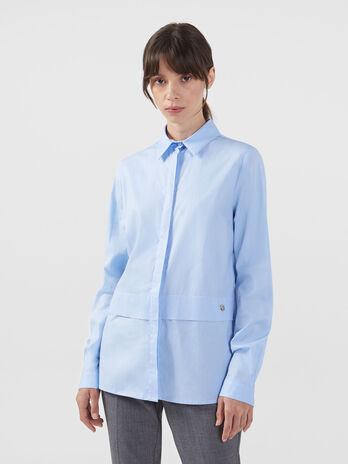 Solid colour stretch poplin shirt