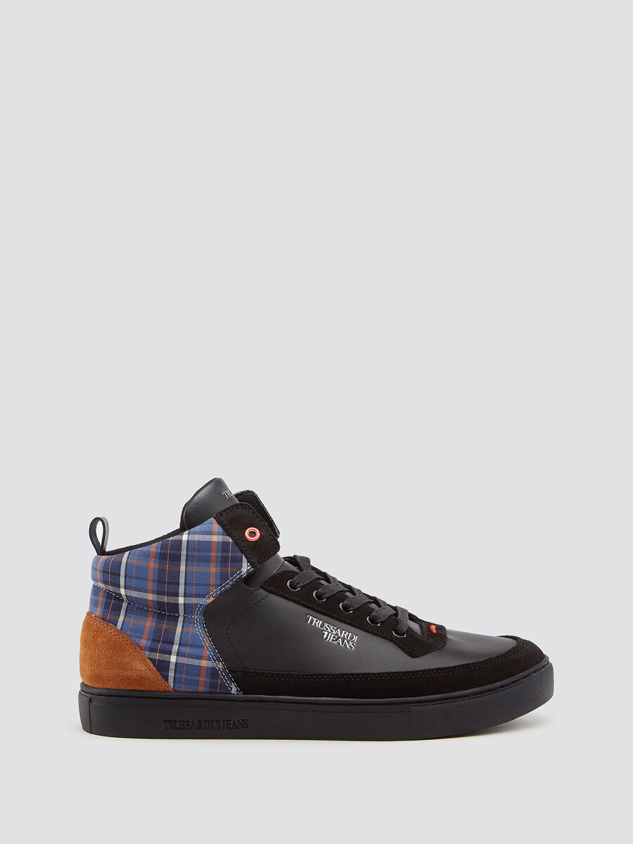 Leather high top sneakers with chequered insert