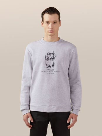 Regular fit cotton sweatshirt with vintage print
