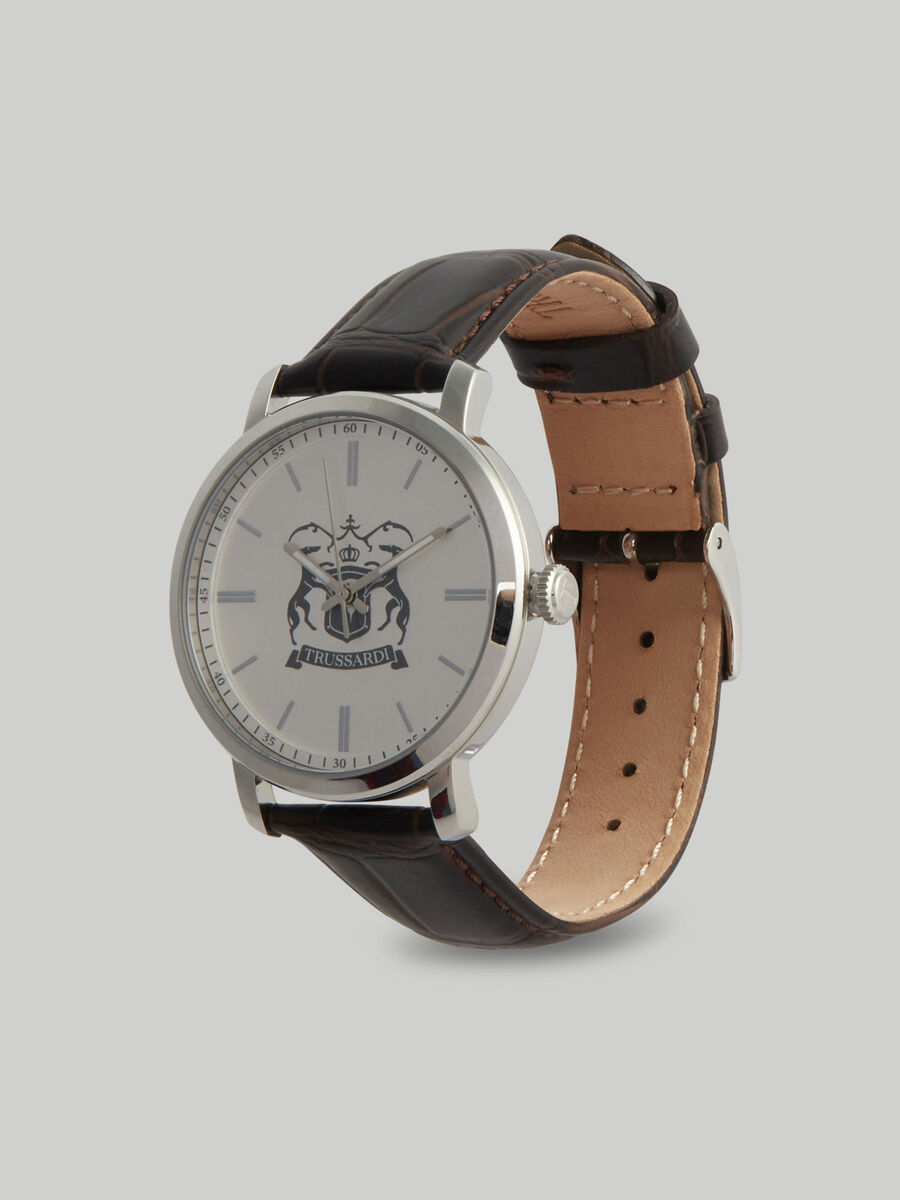 41 MM T-Couple watch with leather strap