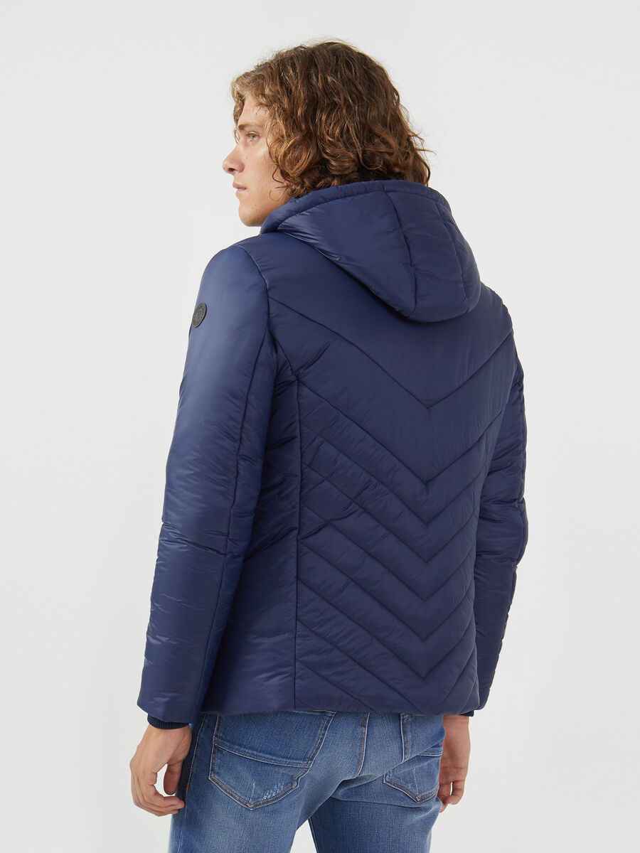Light matte nylon down jacket with zip and hood