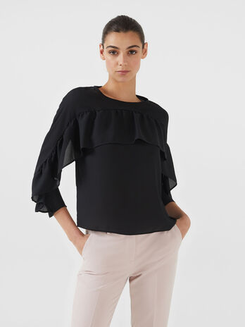 Blouse en georgette double a volant