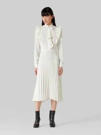 Ruffled midi dress with pleated skirt