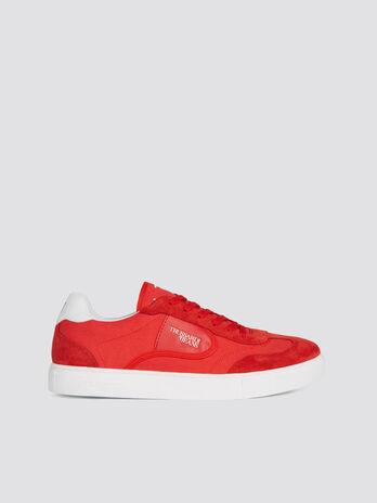 Sneakers de running en nylon avec empiecements en cuir
