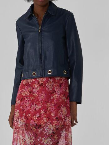 Soft jacket with eyelet details
