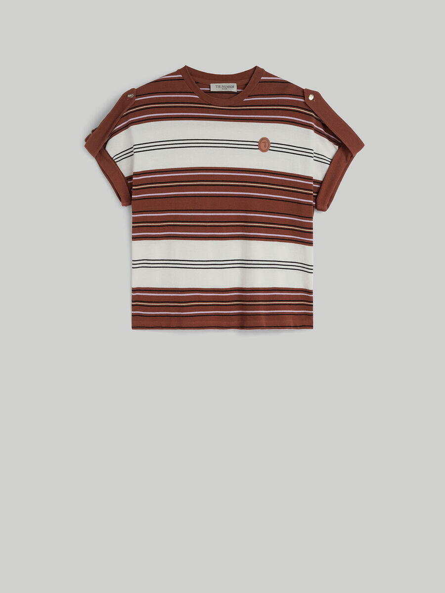 T-shirt boxy fit in piquet a righe