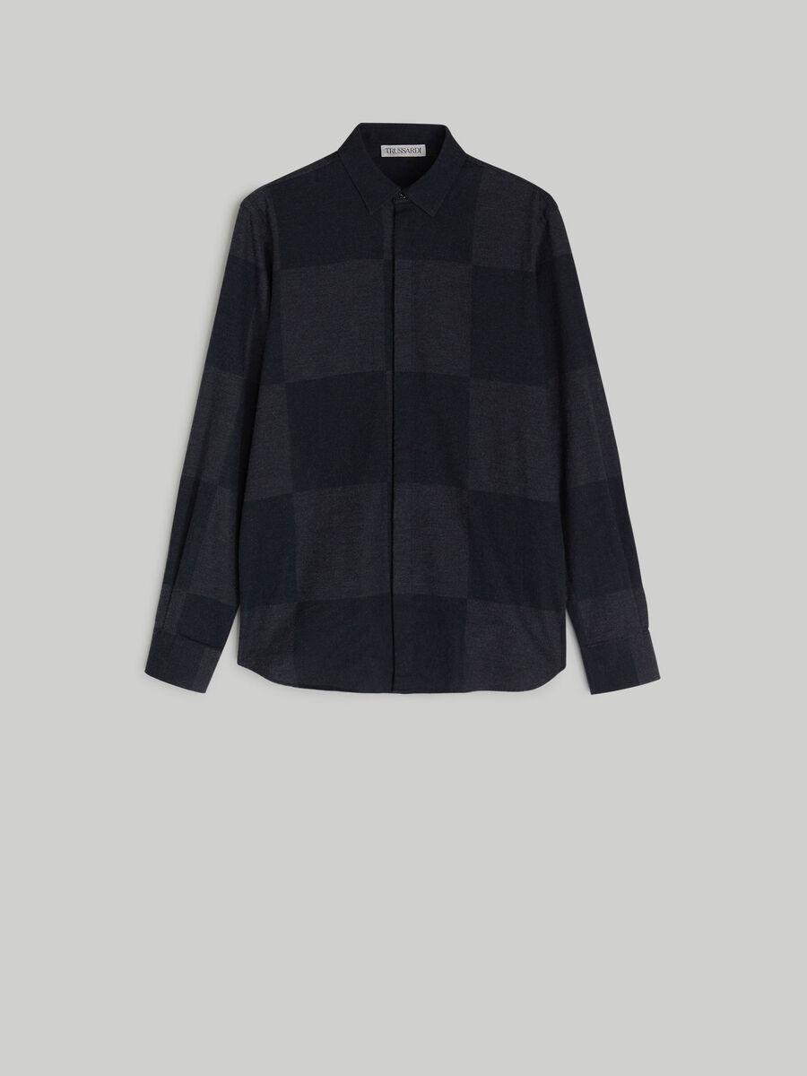 Chequered cotton flannel shirt