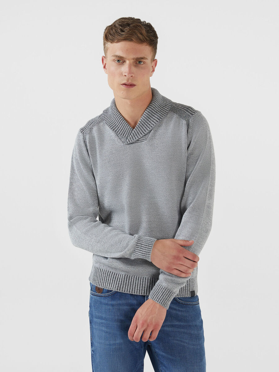 Mouline pullover in a plaited wool blend