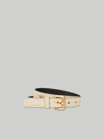 Leather belt with laminated Levriero print