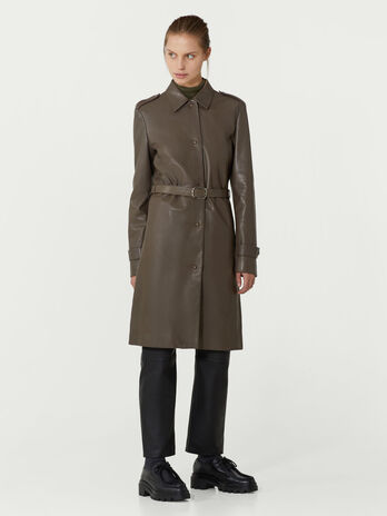Plonge leather overcoat