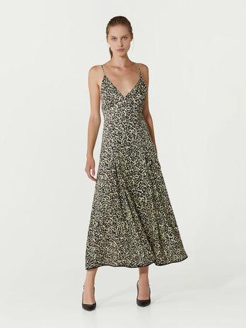 Vestido largo de viscosa estampada