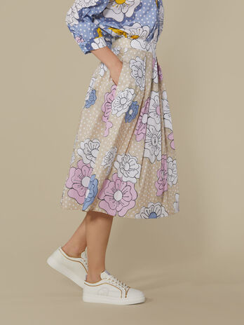 Technical cotton midi skirt with floral print