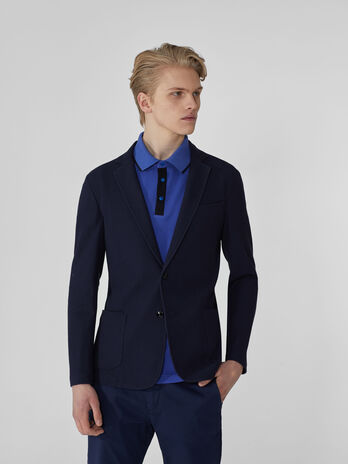 Blazer coupe slim en jersey oxford