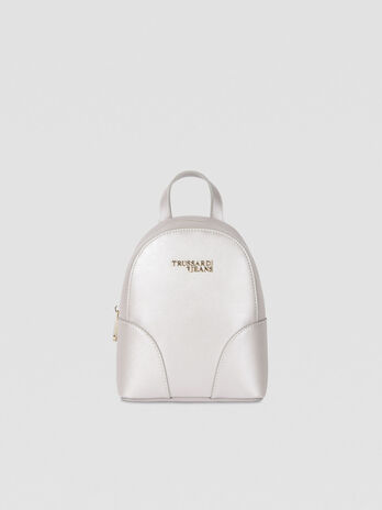 Small backpack in laminated faux leather