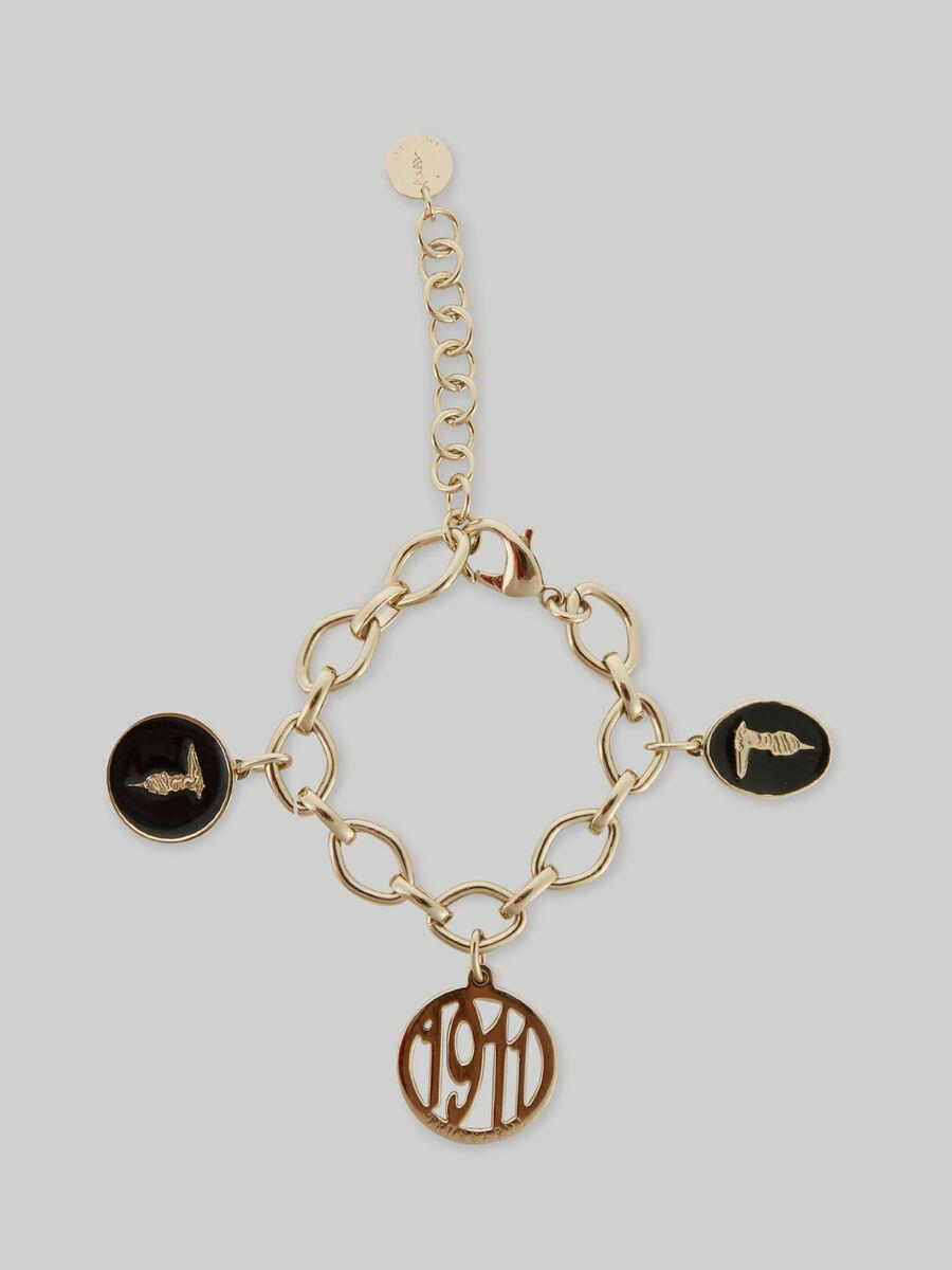Metal chain bracelet with charm