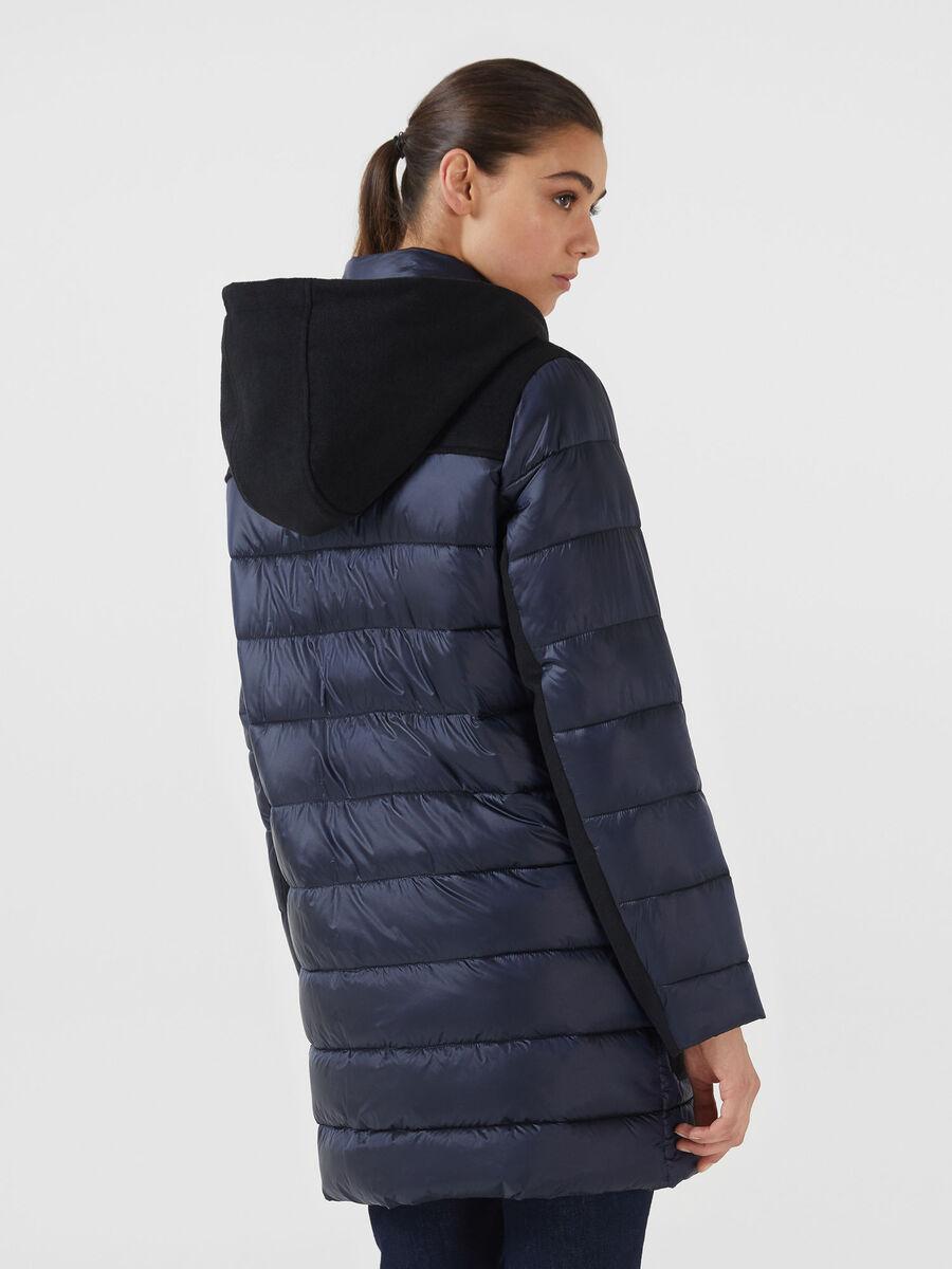 Regular fit nylon and fabric parka
