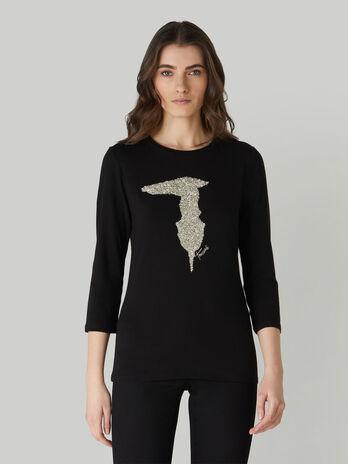 Camiseta de corte slim de algodon con cristales