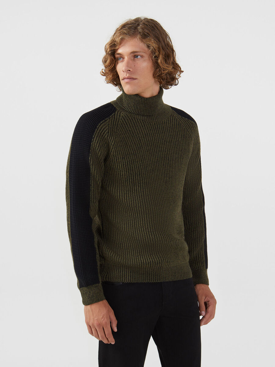 High neck pullover in a two tone mohair wool blend