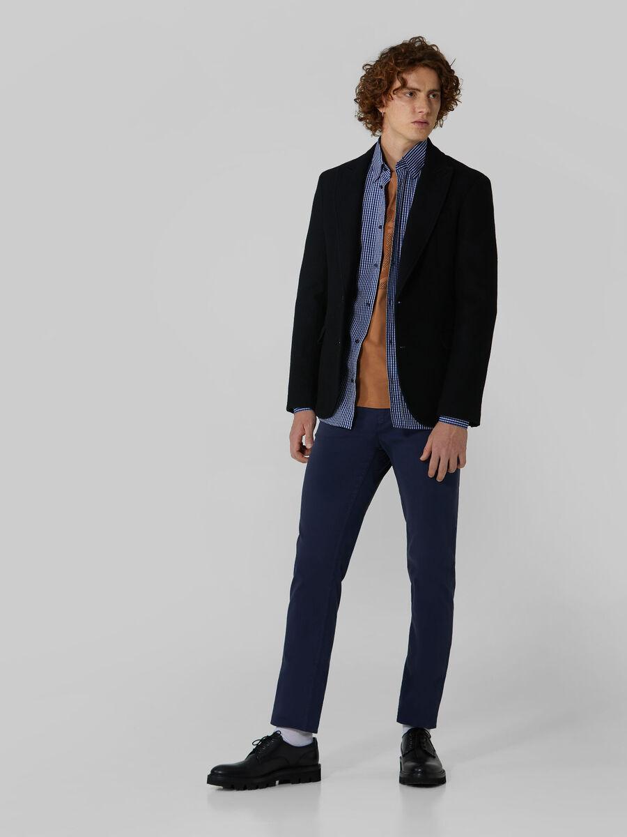 Regular fit wool flannel blazer