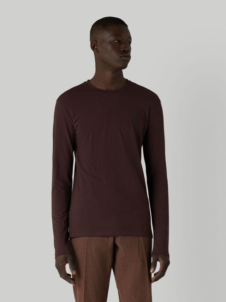 T-shirt coupe slim en jersey a manches longues