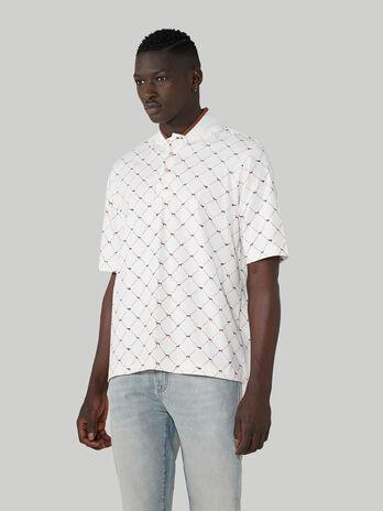 T-Shirt im Over-Fit aus Baumwolle mit Levriero-Print