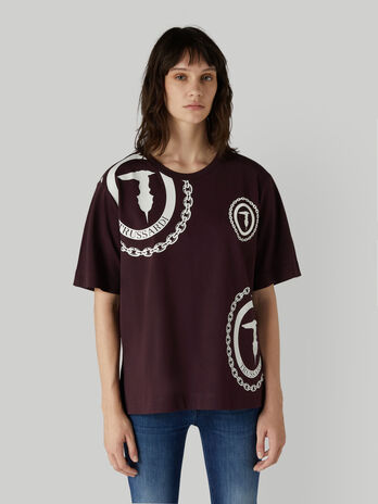 Oversized jersey T-shirt with maxi-logo