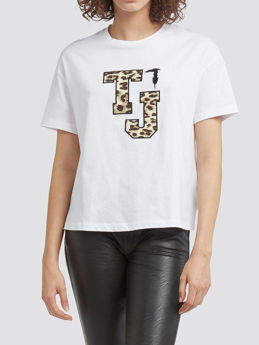 Melange T shirt with logo patch and asymmetrical hem