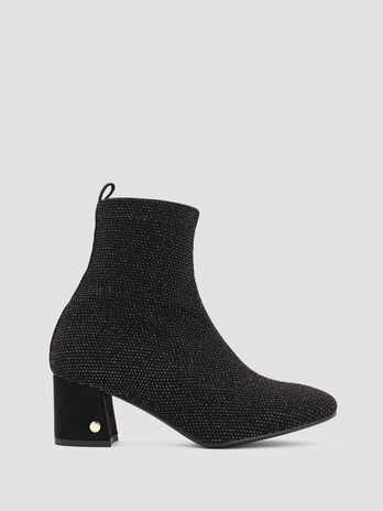 Glittery stretch fabric ankle boots with branded heel