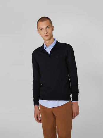 Pullover slim fit con colletto polo