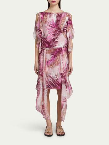 Crepe de chine dress with palm print