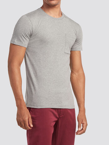 Melange cotton jersey T shirt with breast pocket