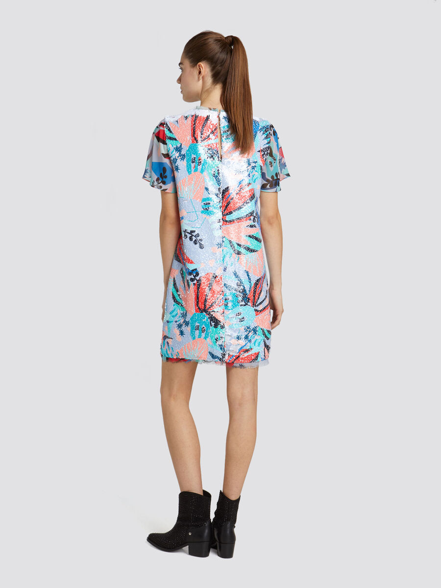 Regular fit minidress with sequinned print