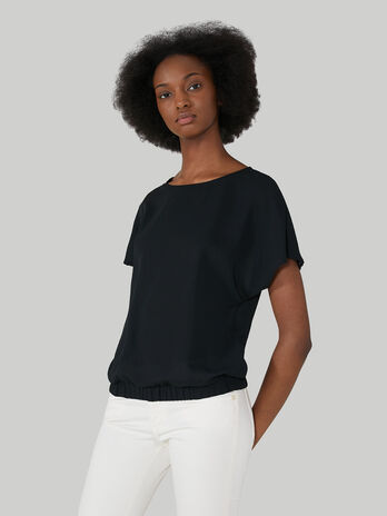 Double georgette blouse with stretch trim