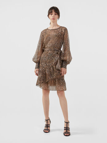 Georgette dress with animal print