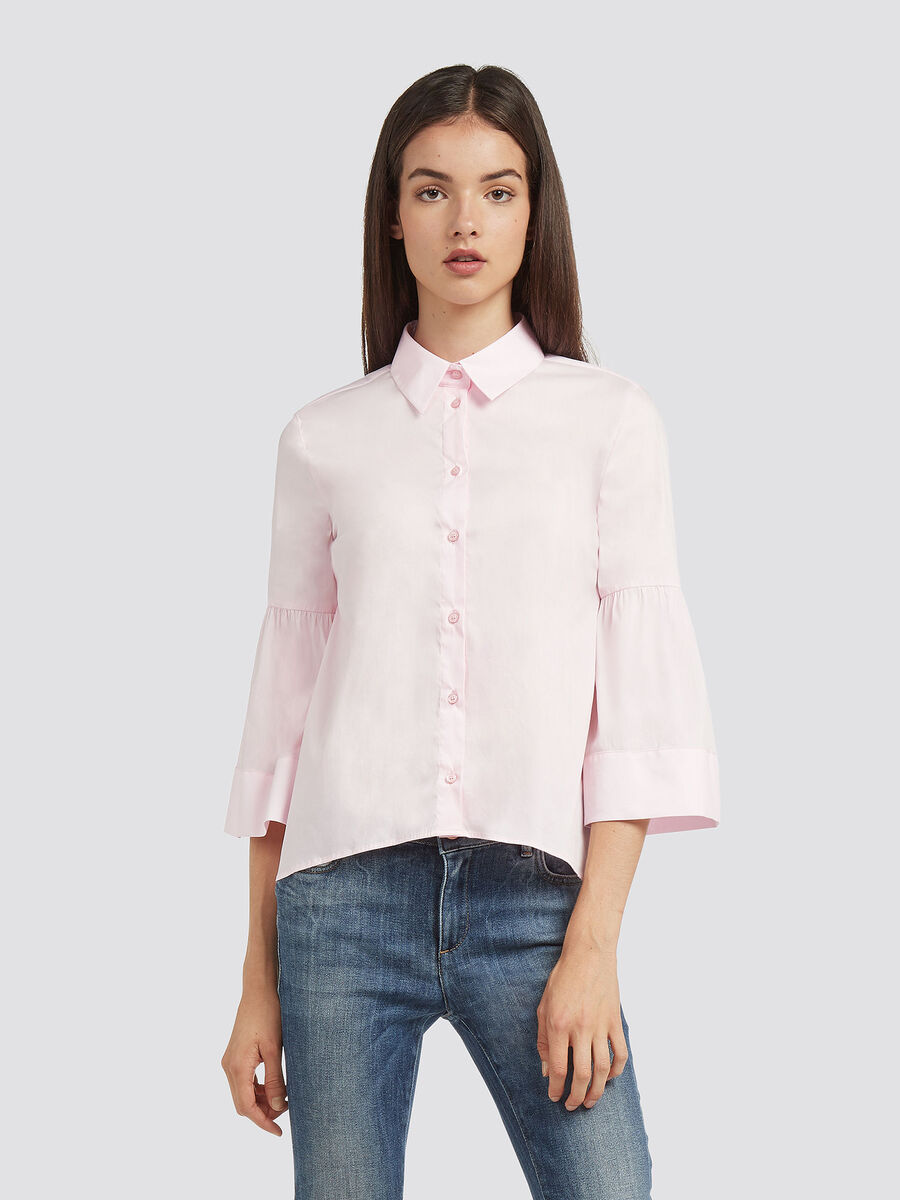 Stretch poplin blouse with collar