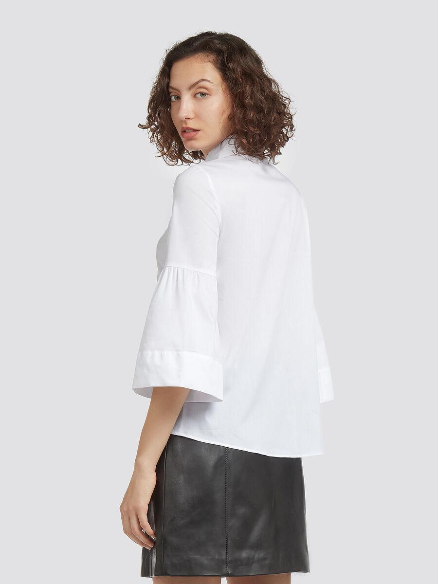 Bluse aus Stretch Popeline mit Kragen